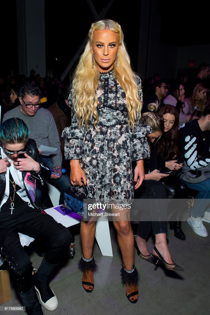 Gigi Gorgeous attends the Ann Sui fashion show during New York Fashion Week at Gallery I at Spring Studios on February 12, 2018 in New York City.