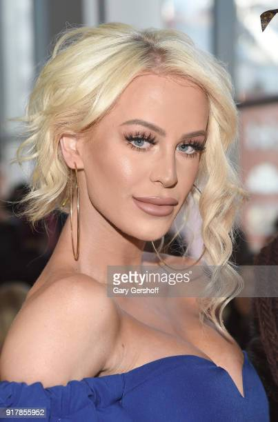 Gigi Gorgeous attends the Badgley Mischka fashion show during New York Fashion Week at Gallery I at Spring Studios on February 13 2018 in New York...