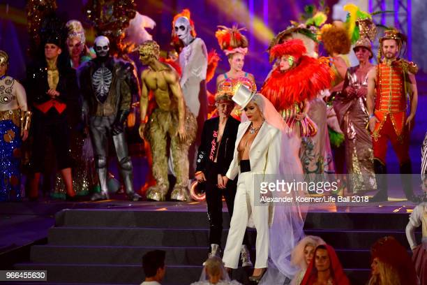 Gigi Gorgeous performs on stage during the Life Ball 2018 show at City Hall on June 2 2018 in Vienna Austria The Life Ball an annual charity event...