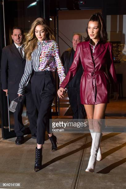 Gigi Hadid and Bella Hadid are seen in NoHo on January 11 2018 in New York City