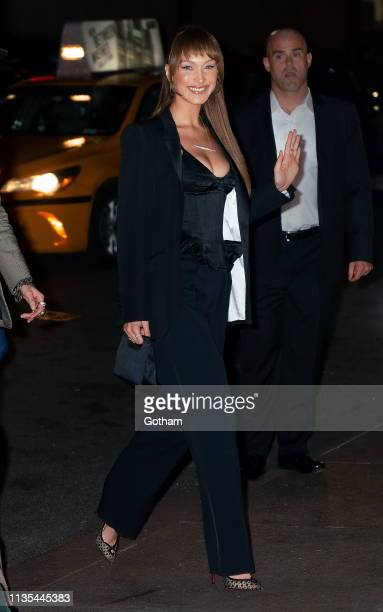 Gigi Hadid and Bella Hadid arrive at Marc Jacobs and Char DeFrancesco wedding reception at the Pool on April 6 2019 in New York City