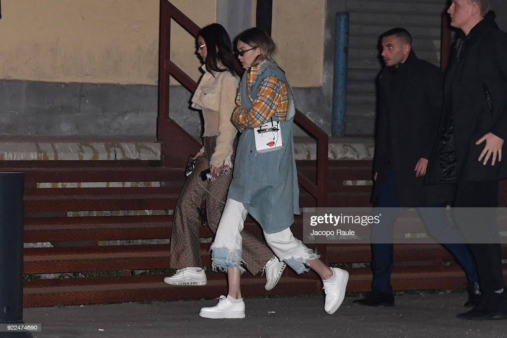 Gigi Hadid and Bella Hadid arrive at the Moschino show during Milan Fashion Week Fall/Winter 2018/19 on February 21, 2018 in Milan, Italy.