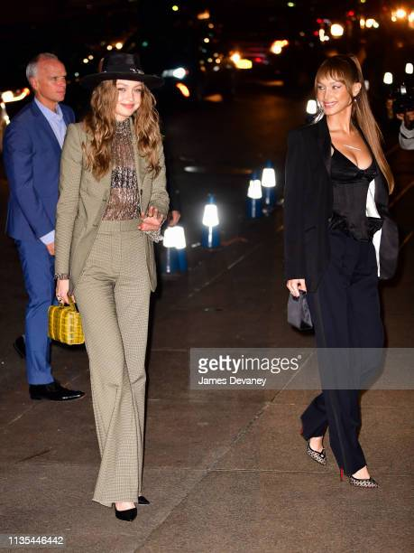 Gigi Hadid and Bella Hadid arrive to the wedding reception for Char Defrancesco and Marc Jacobs at The Grill and The Pool on April 6 2019 in New York...