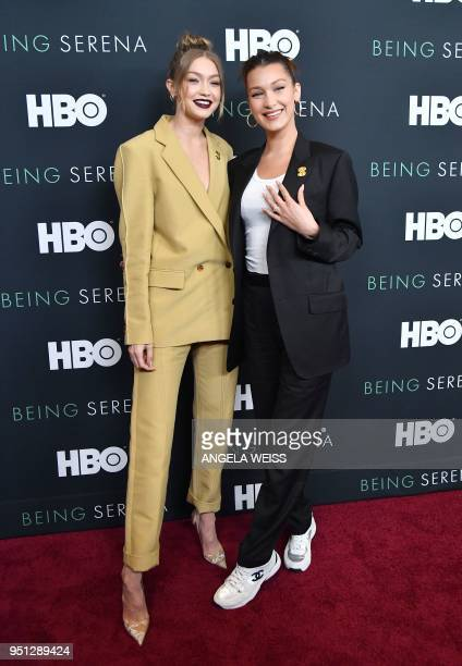 Gigi Hadid and Bella Hadid attend the HBO New York Premiere of 'Being Serena' at Time Warner Center on April 25 2018 in New York City
