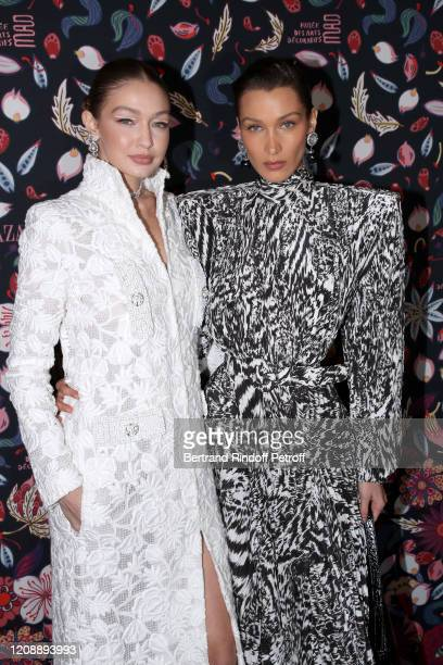 Gigi Hadid and Bella Hadid attends the Harper's Bazaar Exhibition as part of the Paris Fashion Week Womenswear Fall/Winter 2020/2021 At Musee Des...