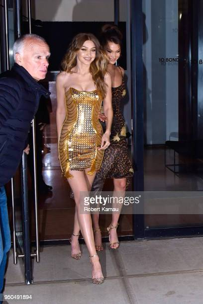 Gigi Hadid and Bella Hadid seen out to celebrate Gigi's Birthday on April 23 2018 in New York City