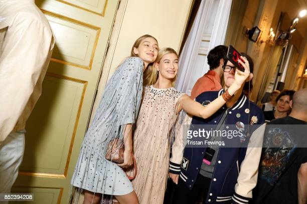 Gigi Hadid and Hailey Baldwin are seen backstage ahead of the Bottega Veneta show during Milan Fashion Week Spring/Summer 2018 on September 23 2017...