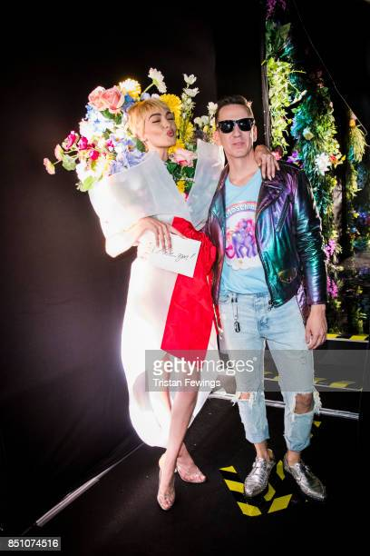 Gigi Hadid and Jeremy Scott are seen backstage ahead of the Moschino show during Milan Fashion Week Spring/Summer 2018 on September 21 2017 in Milan...