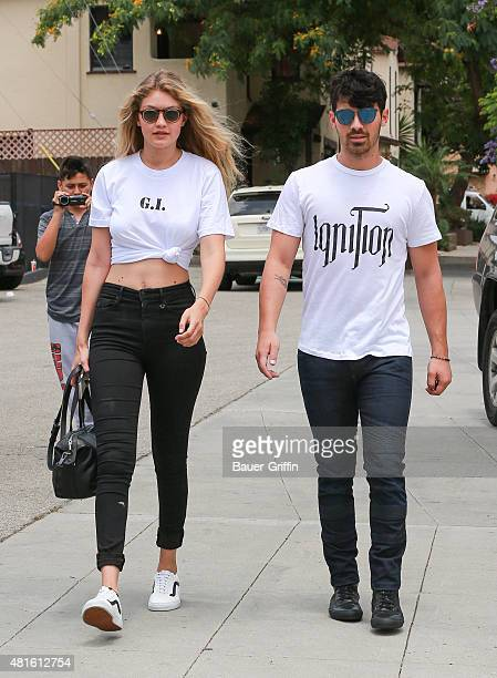 Gigi Hadid and Joe Jonas are seen on July 22 2015 in Los Angeles California