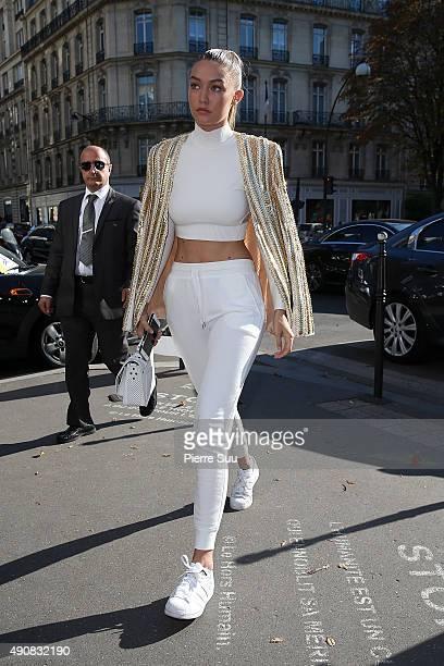 Gigi Hadid and Joe Jonas arrive at a Restaurant on October 1 2015 in Paris France