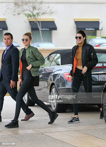 Gigi Hadid and Kendall Jenner are seen on December 22 2015 in Los Angeles California