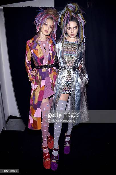 Gigi Hadid and Kendall Jenner pose backstage at the Marc Jacobs Spring 2017 fashion show during New York Fashion Week at the Hammerstein Ballroom on...
