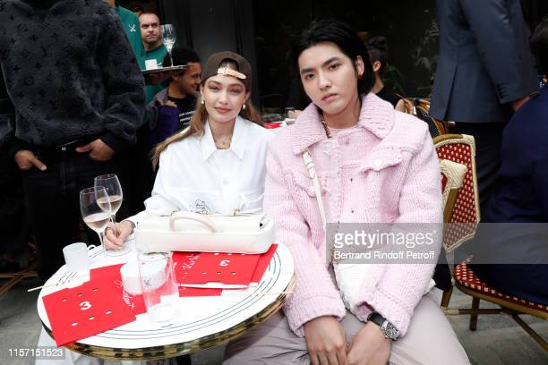 Gigi Hadid and Kris Wu attend the Louis Vuitton Menswear Spring Summer 2020 show as part of Paris Fashion Week on June 20 2019 in Paris France