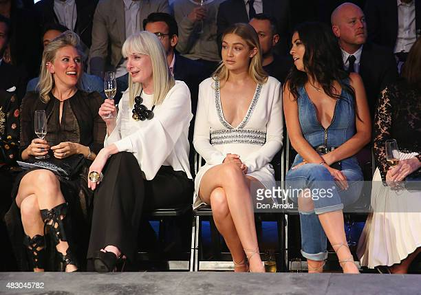 Gigi Hadid and Leah McCarthy sit front row at the David Jones Spring/Summer 2015 Fashion Launch on August 5 2015 in Sydney Australia