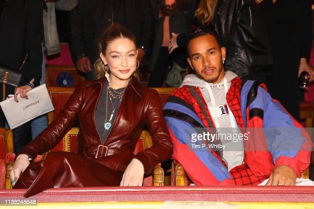 Gigi Hadid and Lewis Hamilton attend the Tommy Hilfiger TOMMYNOW Spring 2019 TommyXZendaya Premieres at Theatre des ChampsElysees on March 02 2019 in...