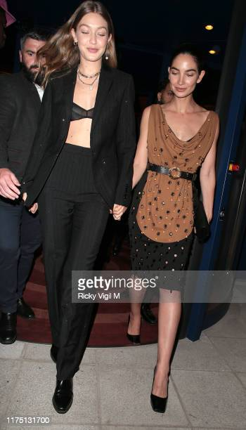 Gigi Hadid and Lily Aldridge seen attending LOVE Magazine YouTube party at The Standard during LFW September 2019 on September 16 2019 in London...