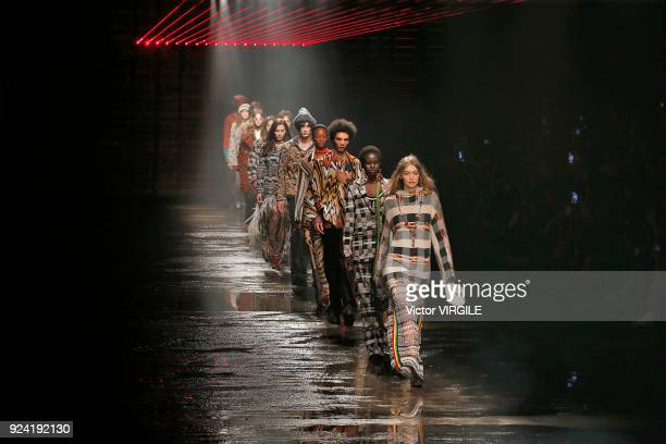 Gigi Hadid and models walk the runway at the Missoni Ready to Wear Fall/Winter 20182019 fashion show during Milan Fashion Week Fall/Winter 2018/19 on...
