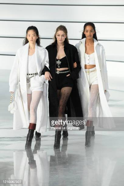 Gigi Hadid and models walk the runway during the Chanel as part of the Paris Fashion Week Womenswear Fall/Winter 2020/2021 on March 03 2020 in Paris...