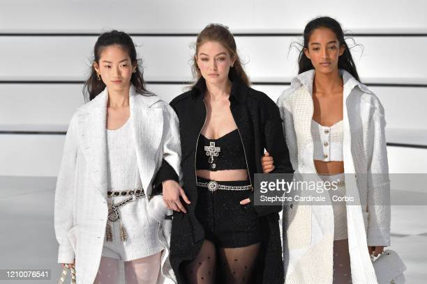Gigi Hadid and models walk the runway during the Chanel as part of the Paris Fashion Week Womenswear Fall/Winter 2020/2021 on March 03, 2020 in...