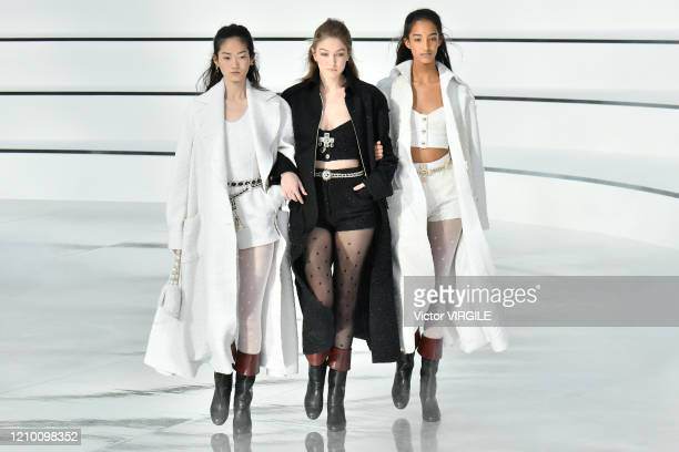 Gigi Hadid and models walk the runway during the Chanel Ready to Wear fashion show as part of the Paris Fashion Week Womenswear Fall/Winter 20202021...