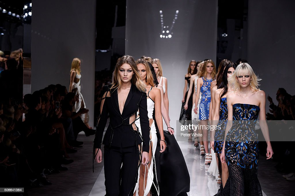 Gigi Hadid and models walk the runway during the Versace Spring Summer 2016 show as part of Paris Fashion Week on January 24, 2016 in Paris, France.