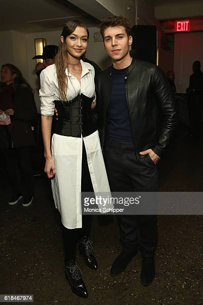 Gigi Hadid and Nolan Funk attend Stuart Weitzman's Launch Of The Gigi Boot on October 26 2016 in New York City