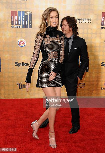 Gigi Hadid and Norman Reedus attend Spike TV's Guys Choice 2016 at Sony Pictures Studios on June 4 2016 in Culver City California