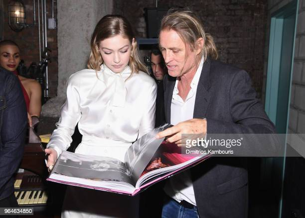 Gigi Hadid and Russell James attend the US book launch of Backstage Secrets By Russell James hosted by Russell James and Ed Razek on May 31 2018 in...
