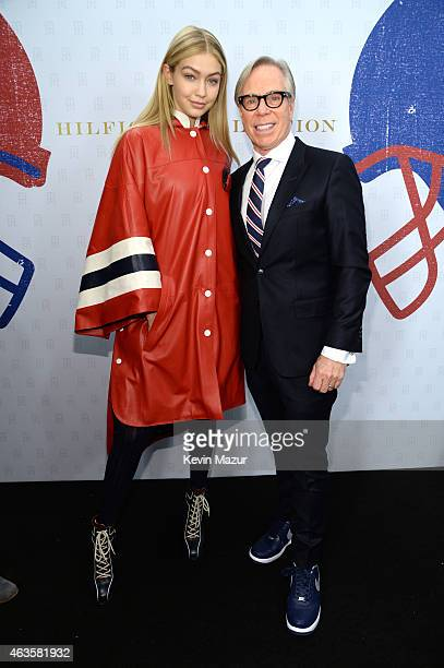 Gigi Hadid and Tommy Hilfiger backstage at Tommy Hilfiger Women's Collection during MercedesBenz Fashion Week Fall 2015 at Park Avenue Armory on...