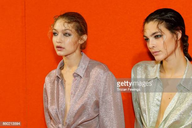 Gigi Hadid and Vittoria Ceretti are seen backstage ahead of the Alberta Ferretti show during Milan Fashion Week Spring/Summer 2018on September 20...