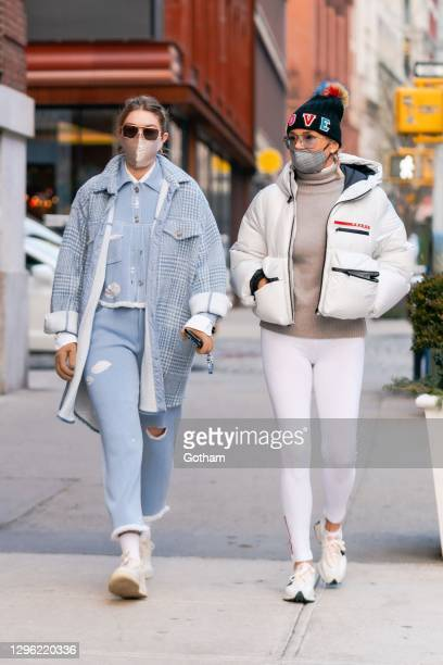 Gigi Hadid and Yolanda Hadid are seen in NoHo on January 13, 2021 in New York City.