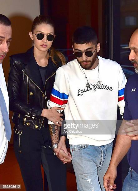 Gigi Hadid and Zayn Malik are seen in Soho on June 10 2016 in New York City