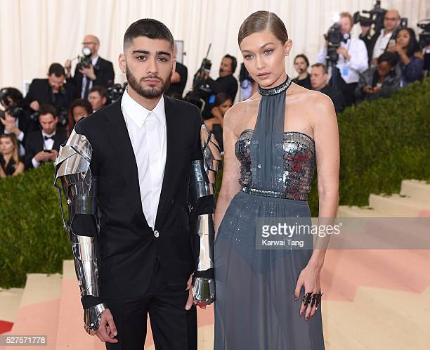 Gigi Hadid and Zayn Malik arrive for the Manus x Machina Fashion In An Age Of Technology Costume Institute Gala at Metropolitan Museum of Art on May...