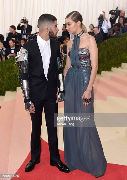 Gigi Hadid and Zayn Malik arrive for the 'Manus x Machina Fashion In An Age Of Technology' Costume Institute Gala at Metropolitan Museum of Art on...