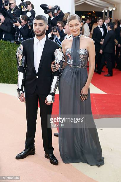 Gigi Hadid and Zayn Malik attend Manus x Machina Fashion in an Age of Technology the 2016 Costume Institute Gala at the Metropolitan Museum of Art on...