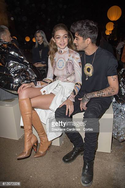 Gigi Hadid and Zayn Malik attend the Givenchy show as part of the Paris Fashion Week Womenswear Spring/Summer 2017on October 2 2016 in Paris France