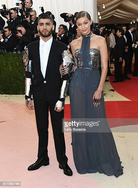 Gigi Hadid and Zayn Malik attend the Manus x Machina Fashion In An Age Of Technology Costume Institute Gala at Metropolitan Museum of Art on May 2...