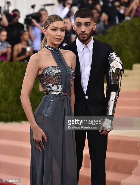 Gigi Hadid and Zayn Malik attend the 'Manus x Machina: Fashion In An Age Of Technology' Costume Institute Gala at Metropolitan Museum of Art on May...