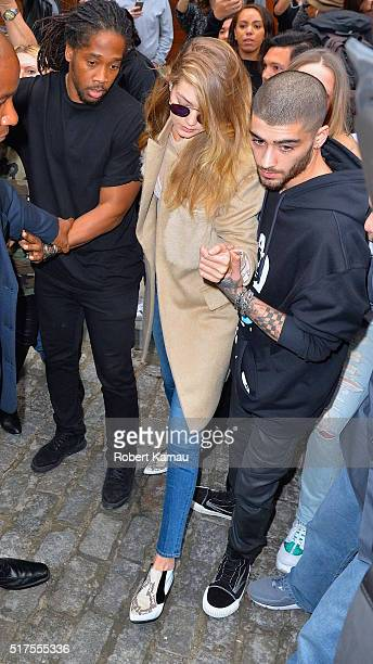 Gigi Hadid and Zayn Malik seen out together before Zayn iHeart Radio concert on March 25 2016 in New York City