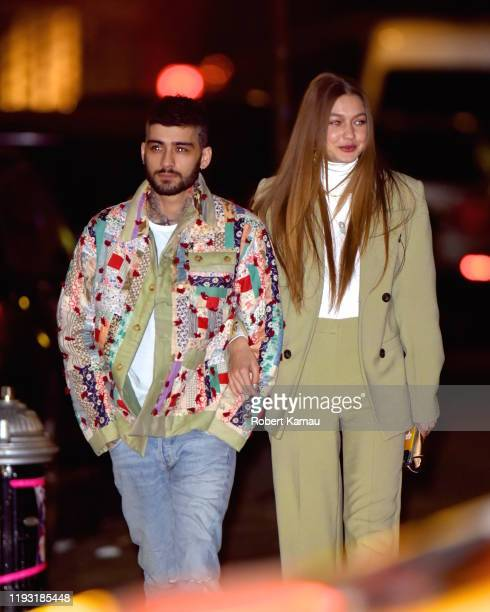 Gigi Hadid and Zayn Malik show PDA after leaving a restaurant in NoHo celebrating a birthday on January 11 2020 in New York City