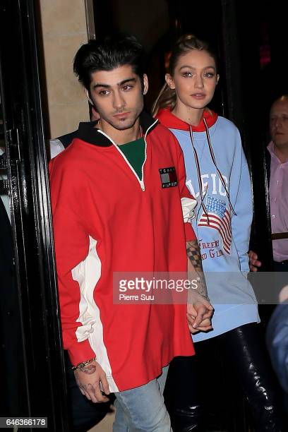 Gigi Hadid and Zayne Malik leave their hotel on February 28, 2017 in Paris, France.