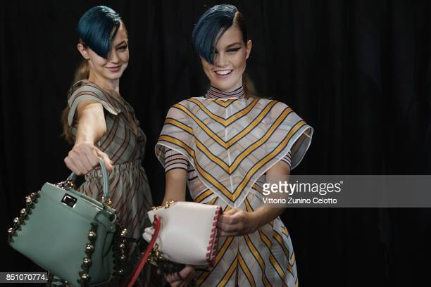 Gigi Hadid andl Luna Bijl are seen backstage ahead of the Fendi show during Milan Fashion Week Spring/Summer 2018on September 21 2017 in Milan Italy