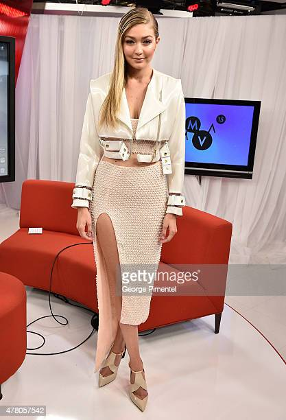 Gigi Hadid appears backstage at the 2015 MuchMusic Video Awards at MuchMusic HQ on June 21 2015 in Toronto Canada