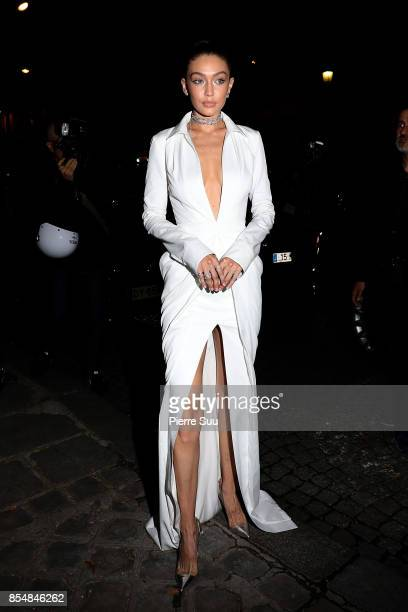Gigi Hadid arrives at a party on September 27 2017 in Paris France