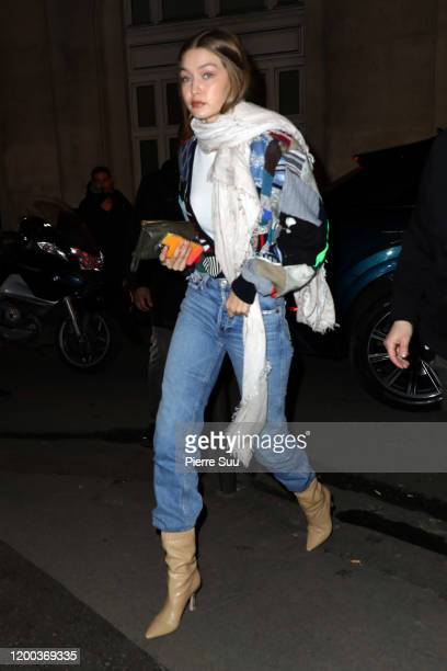 Gigi Hadid arrives at an office building on January 18, 2020 in Paris, France.