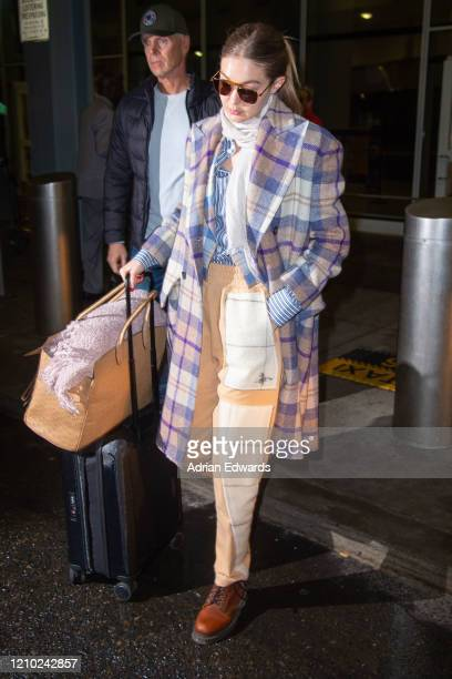 Gigi Hadid arrives at JFK Airport on March 3 2020 in New York City