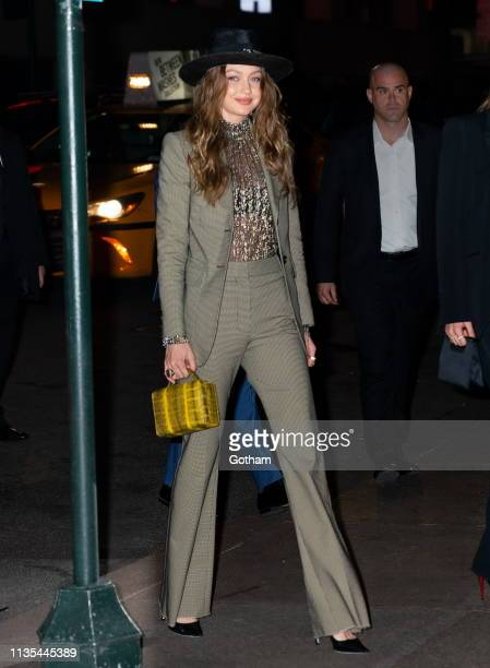 Gigi Hadid arrives at Marc Jacobs and Char DeFrancesco wedding reception at the Pool on April 6 2019 in New York City