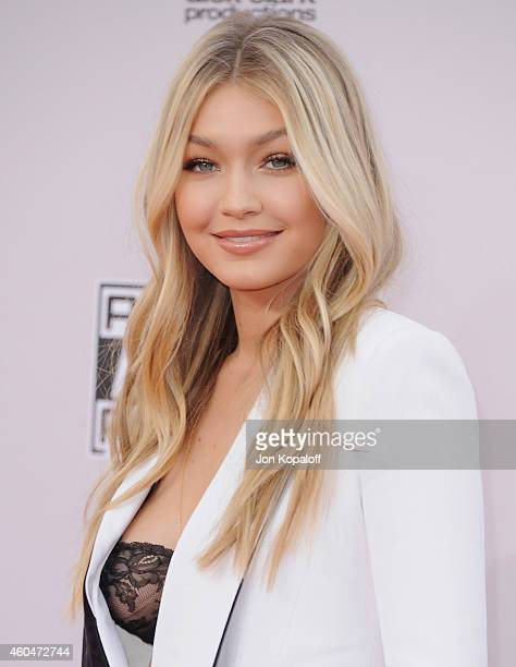 Gigi Hadid arrives at the 2014 American Music Awards at Nokia Theatre LA Live on November 23 2014 in Los Angeles California