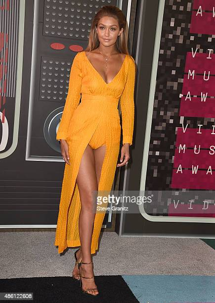 Gigi Hadid arrives at the 2015 MTV Video Music Awards at Microsoft Theater on August 30 2015 in Los Angeles California
