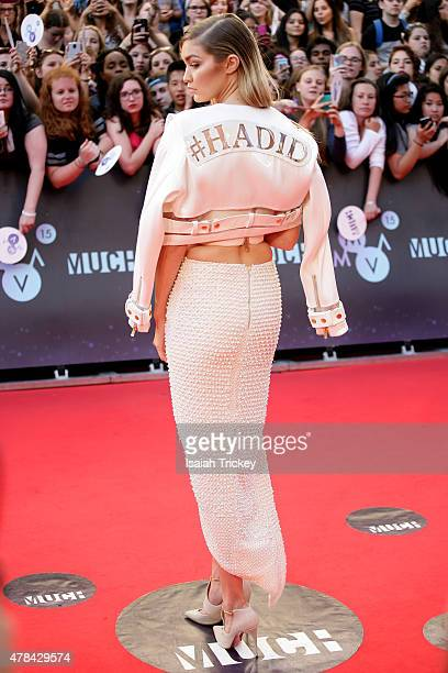 Gigi Hadid arrives at the 2015 MuchMusic Video Awards at MuchMusic HQ on June 21 2015 in Toronto Canada